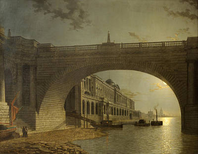 Painting - Somerset House And Waterloo Bridge. London By Night by Henry Pether