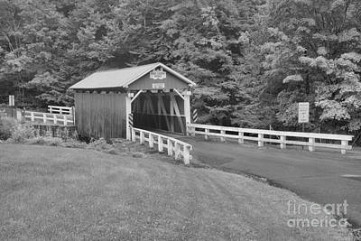 Photograph - Somerset Packsaddle Covered Bridge Black And White by Adam Jewell