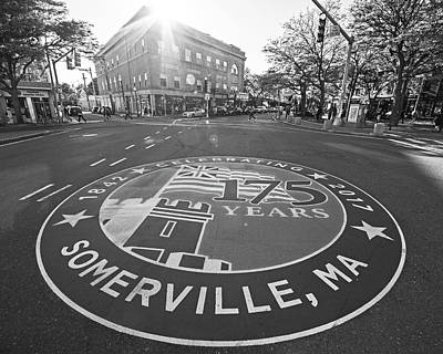 Photograph - Somerville Ma Davis Square 175 Years Black And White by Toby McGuire