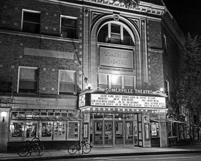 Photograph - Somerville Theater In Davis Square Somerville Ma Black And White by Toby McGuire