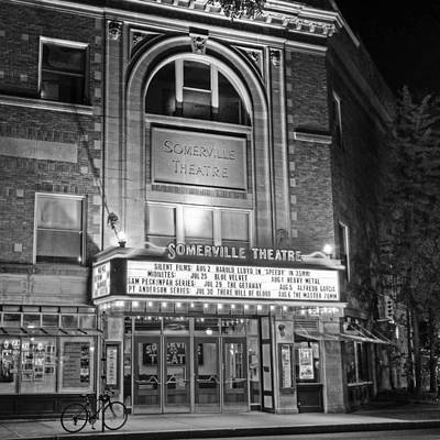 Photograph - Somerville Theater In Davis Square Somerville Ma Sqr Black And White by Toby McGuire