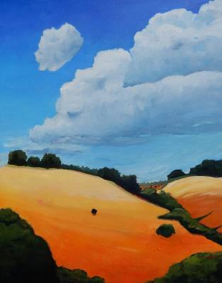 Windy Hill Painting - Something About Clouds, Panel 3 by Gary Coleman