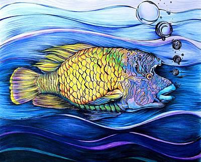 Interesting Mixed Media - Something Fishy by Elizabeth Cox
