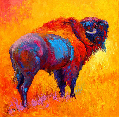 Bison Painting - Something In The Air by Marion Rose