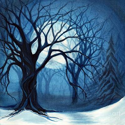 Moonlit Night Painting - Something In The Air Tonight - Winter Moonlight Forest by Janine Riley