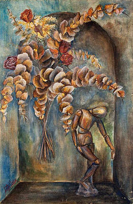 Manikins Painting - Roses, Eucalyptus And Wood Manikin  On Arch - Still Life by Catalina Diaz