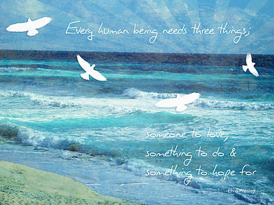 Seashore Quote Wall Art - Mixed Media - Something To Hope For by Tia Helen