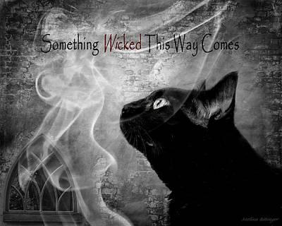 Digital Art - Something Wicked, Black Cat Smoke Gothic Window by Melissa Bittinger