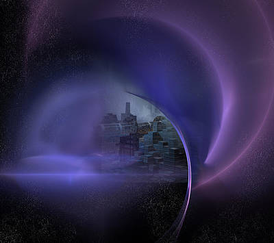 Eerie Digital Art - Somewhere Out There by Carol and Mike Werner
