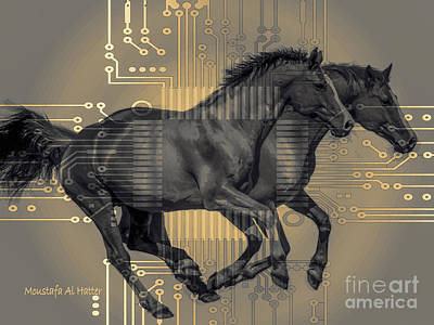 Digital Art - The Sounds Of Horses by Moustafa Al Hatter