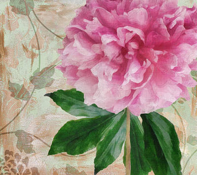 Pinks And Purple Petals Painting - Sonata Pink Peony II by Mindy Sommers