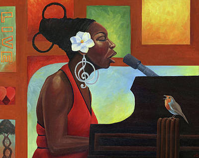 Nina Simone Painting - Song Bird by Kavion Robinson