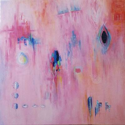 Art Print featuring the painting Working Through The Layers Pink by Suzzanna Frank
