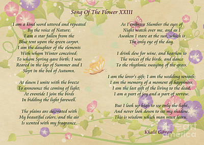 Digital Art - Song Of The Flower By Khalil Gibran by Olga Hamilton