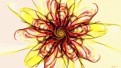 Contemporary Painting - Song Of The Psychedelic Sunflower by Abstract Angel Artist Stephen K