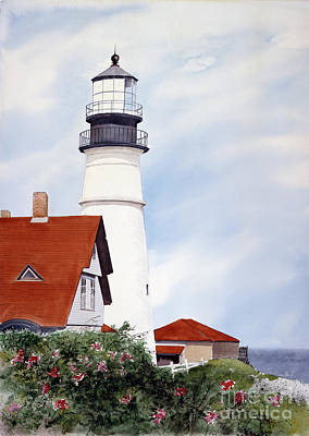 Portland Head Lighthouse Painting - Song Sparrows by Monte Toon