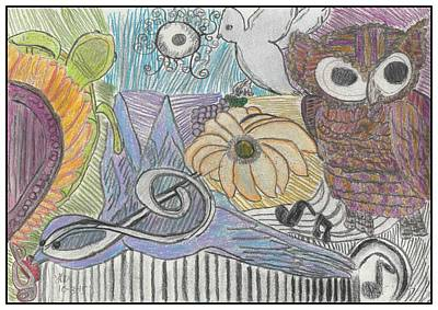 Abstract Collage Drawing - Songbird Collage by Heather Parsons