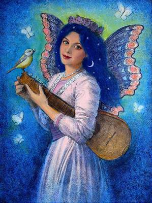 Songbird For A Blue Muse Print by Sue Halstenberg