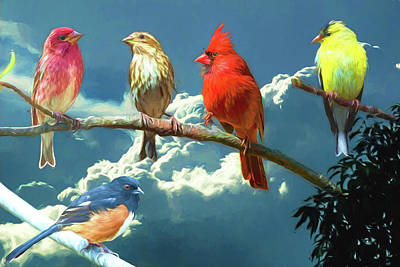 Digital Art - Songbirds Ala Van Gogh by John Haldane