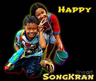Photograph - Songkran - Water Festival - Greeting Card by Ian Gledhill