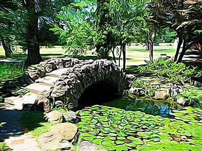 Historic Site Mixed Media - Sonnenberg Gardens Japanese Garden Bridge And Waterlily Pond Expressionist Effect by Rose Santuci-Sofranko