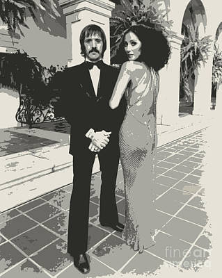 Bono Digital Art - Sonny Bono And Cher  by Pd