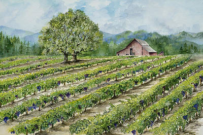 Wine Country Landscape Painting - Sonoma County Vineyard by Virginia McLaren