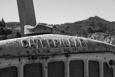 Photograph - Sonoma Valley Caterpillar Tractor Northern Ca Closeup Black And White by Toby McGuire