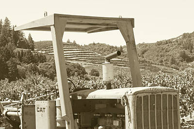 Photograph - Sonoma Valley Caterpillar Tractor Northern Ca Sepia by Toby McGuire