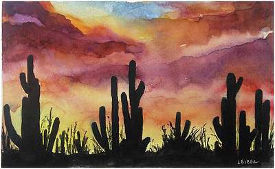 Sonora Painting - Sonora Desert Sunset by Donna Leiber