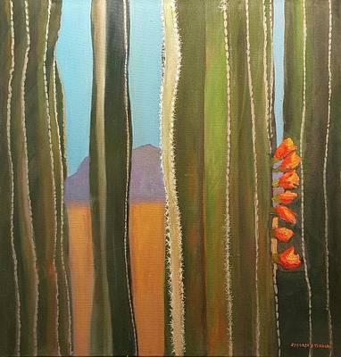 Sonoran Desert Cactus Reds Art Print