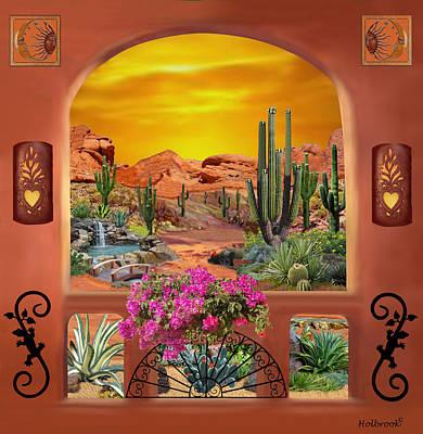 Desert Sunset Digital Art - Sonoran Desert Landscape by Glenn Holbrook