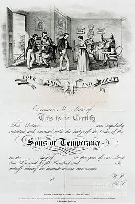 Social Movements Photograph - Sons Of Temperance Certificate by Photo Researchers
