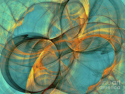 Generative Digital Art - Soothing Blue by Deborah Benoit