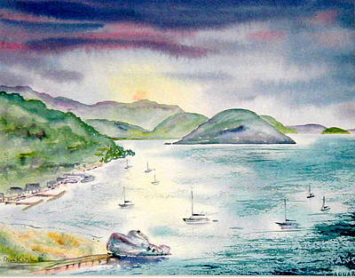 Painting - Sopers Hole Sunset by Diane Kirk