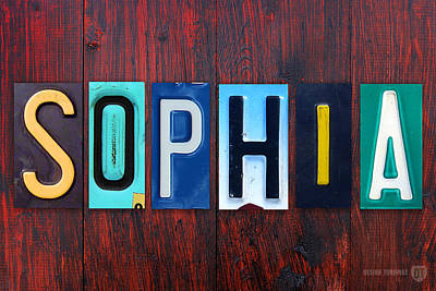 Signed Mixed Media - Sophia License Plate Lettering Name Sign Art by Design Turnpike