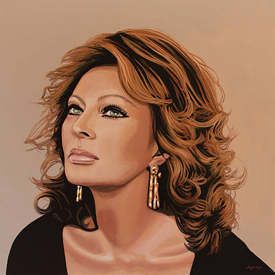 Globe Painting - Sophia Loren 3 by Paul Meijering