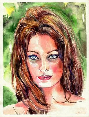 Babes Wall Art - Painting - Sophia Loren Portrait by Suzann's Art