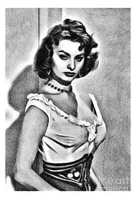 Musicians Drawings - Sophia Loren, Vintage Actress by JS by Esoterica Art Agency