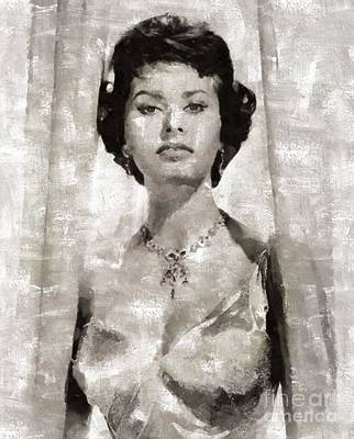 Sophia Loren, Vintage Actress By Mary Bassett Art Print by Mary Bassett