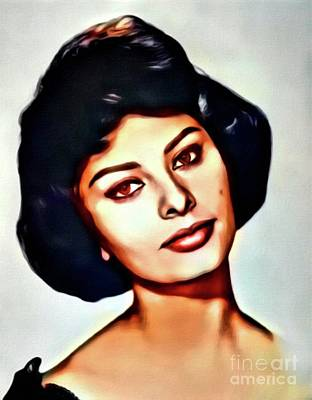 Sophia Loren, Vintage Actress. Digital Art By Mb Art Print by Mary Bassett