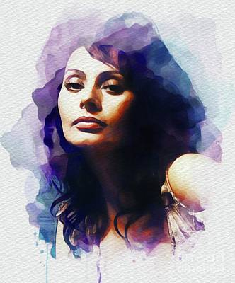 Painting - Sophia Loren, Vintage Movie Star by John Springfield