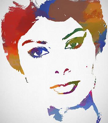 Painting - Sophia Loren Watercolor by Dan Sproul