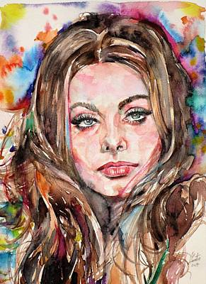 Painting - Sophia Loren - Watercolor Portrait.1 by Fabrizio Cassetta
