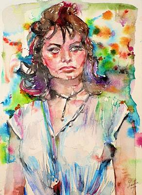 Painting - Sophia Loren - Watercolor Portrait.2 by Fabrizio Cassetta