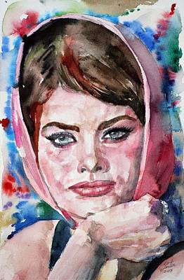 Painting - Sophia Loren - Watercolor Portrait.3 by Fabrizio Cassetta