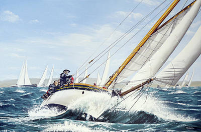 Classic Marine Art Painting - Sophie, Round The Island Race 2016 by Mark Woollacott
