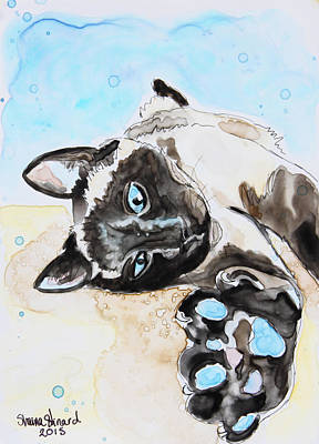 Watercolor Pet Portraits Painting - Sophie The Siamese by Shaina Stinard
