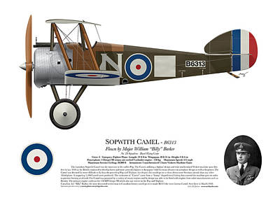 Camel Digital Art - Sopwith Camel - B6313 March 1918 - Side Profile View by Ed Jackson