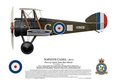 World War One Digital Art - Sopwith Camel - B6344 - Side Profile View by Ed Jackson